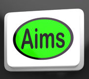 Aims Button Shows Targeting Purpose And Aspiration Royalty Free Stock Photos