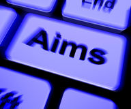 Aims Keyboard Shows Targeting Purpose And Aspiration Royalty Free Stock Image