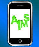 Aims On Smartphone Shows Targeting Purpose And Aspiration Royalty Free Stock Photos