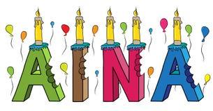 Aina nome fêmea 3d colorido mordido que rotula o bolo de aniversário com velas e balões ilustração royalty free