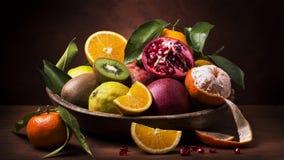 Ainda cesta de fruto da vida Sabores e cores Fotografia de Stock