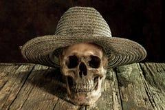 Ainda crânio da vida e de máquina do tampão weave Fotografia de Stock Royalty Free