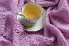Ainda detalhes da vida, copo do chá em um lenço de lã do vintage na sala de visitas Fotografia de Stock