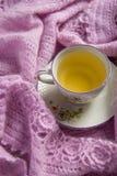 Ainda detalhes da vida, copo do chá em um lenço de lã do vintage na sala de visitas Imagem de Stock Royalty Free