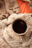 Ainda detalhes da vida de sala de visitas Copo do chá na cobertura de lã na cama Conceito do fim de semana do inverno da queda do foto de stock