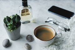Ainda detalhes da vida, xícara de café, potenciômetro da planta, vidros no fundo branco na sala de visitas Fotos de Stock Royalty Free