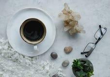Ainda detalhes da vida, xícara de café, potenciômetro da planta, vidros no fundo branco na sala de visitas Fotografia de Stock