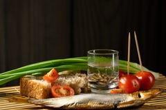 Ainda do tomate alco?lico dos peixes da vodca da vida cebolas verdes fotos de stock