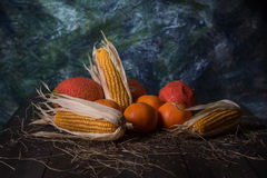 Ainda estilo de vida do fruto seco no assoalho de madeira Imagens de Stock