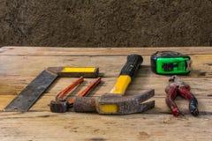 Ainda ferramentas classificadas vida do trabalho na madeira Imagens de Stock