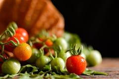 Ainda grupo da vida de tomate na cesta na madeira velha Imagens de Stock