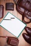 Ainda imagem do vintage da vida com saco, papel e Golovko, sapatas, came Fotos de Stock Royalty Free