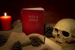 Ainda livro e dkull vermelhos da Bíblia da vida Imagens de Stock