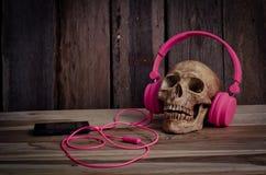 Ainda modelo humano do crânio da vida com os fones de ouvido cor-de-rosa no fundo de madeira Imagem de Stock