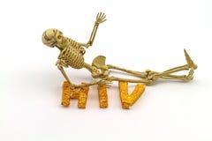 Ainda o osso do corpo humano do conceito da vida e A exprimem VIH no branco Imagem de Stock