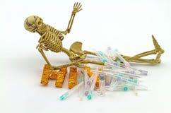 Ainda osso do corpo humano do conceito da vida, caixa cortante da seringa, ne Imagens de Stock
