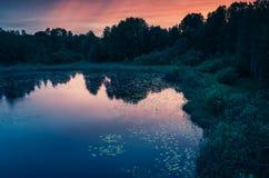 Ainda paisagem do lago na noite branca Céu colorido foto de stock royalty free