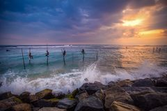 Ainda pescando em Sri Lanka imagem de stock