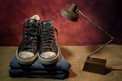Ainda sapatas pretas da vida, botas Foto de Stock Royalty Free