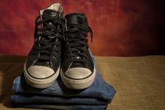 Ainda sapatas pretas da vida, botas Fotografia de Stock Royalty Free