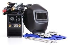 Ainda soldador (máquina de soldadura com os fios isolados no fundo branco) Fotografia de Stock Royalty Free
