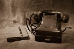 Ainda telefone do preto do vintage da vida Imagens de Stock