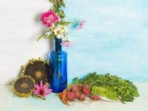 Ainda uma vida rústica com vegetais Imagens de Stock