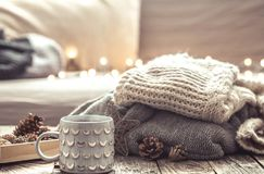 Ainda vida acolhedor com o copo do chá Imagem de Stock Royalty Free