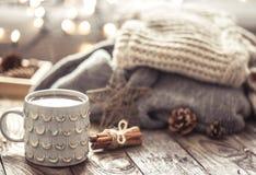 Ainda vida acolhedor com o copo do chá Imagens de Stock