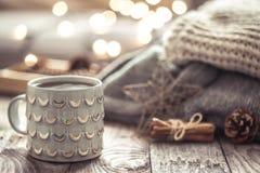 Ainda vida acolhedor com o copo do chá Fotos de Stock Royalty Free