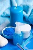 Ainda-vida azul do banheiro Fotos de Stock