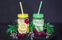 Ainda vida 1 Beba o fruto, laranjas, pepinos, bagas nas canecas de vidro com um punho Em um fundo preto fotografia de stock
