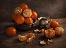 Ainda vida bonita com os mandarino Foto de Stock Royalty Free