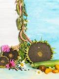 Ainda vida brilhante vertical com vegetais Imagens de Stock Royalty Free