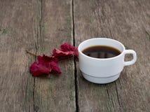 Ainda vida, café e brilhantemente folha vermelha em uma tabela de madeira, queda Foto de Stock