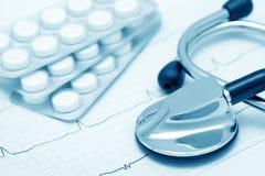 Ainda-vida cardiológica (azul tonificado) Fotografia de Stock