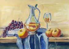 Ainda vida clássica com fruto e vinho ilustração stock