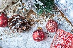 Ainda vida com acessórios do Natal Vista superior Fotografia de Stock