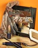 Ainda vida com acessórios dos cosméticos Fotografia de Stock