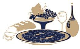 Ainda vida com alimento e bebida ilustração royalty free