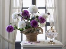 Ainda vida com as flores da dália do outono da cesta Fotos de Stock Royalty Free