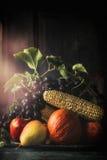 Ainda vida com as frutas e legumes do outono, escuras Imagem de Stock Royalty Free