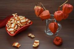 Ainda vida com as microplaquetas do vermelho - tons marrons Imagem de Stock Royalty Free