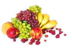 Ainda vida com banana, uva e nectarina Imagens de Stock