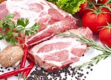 Ainda vida com carne de carne de porco crua Fotografia de Stock Royalty Free