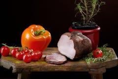 Ainda vida com carne e paprika Imagens de Stock Royalty Free