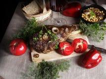 Ainda vida com carne e vegetais Fotografia de Stock