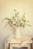 Ainda a vida com cereja de florescência ramifica vaso Imagem de Stock Royalty Free
