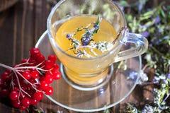 Ainda vida com chá do viburnum no guardanapo do pano de saco, no fundo de madeira Fotografia de Stock