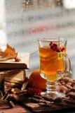Ainda vida com chá quente na decoração do outono Imagens de Stock Royalty Free